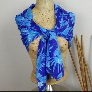"Scarf/Wrap blue floral print size 74""X21"" EUC"